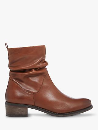 Dune Pagers 2 Leather Ankle Boots, Dark Tan