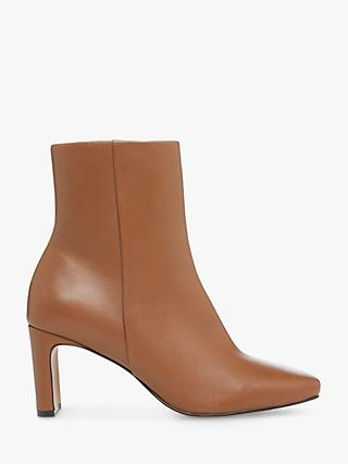 Dune Outshine Leather Camel Ankle Boots