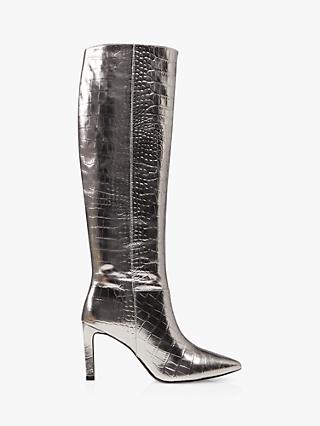 Dune Spice Leather Reptile Print Knee High Stiletto Heel Boots