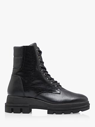 Dune Pranca Leather Lace Up Ankle Boots, Black