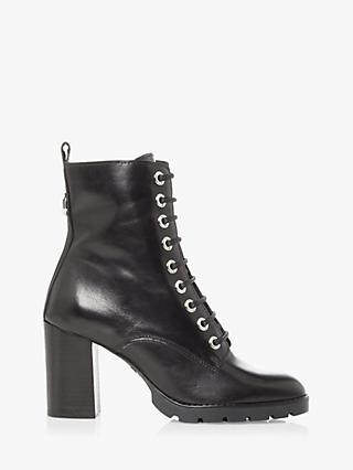 Dune Passo Leather Block Heel Hiker Ankle Boots, Black