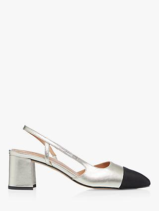 Dune Croft Leather Heeled Court Shoes, Champagne