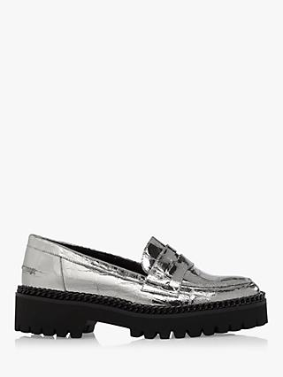 Dune Glorious Leather Chunky Loafers, Silver
