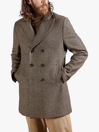 Ted Baker Loch Wool Blend Coat Taupe, Ted Baker Loch Herringbone Peacoat