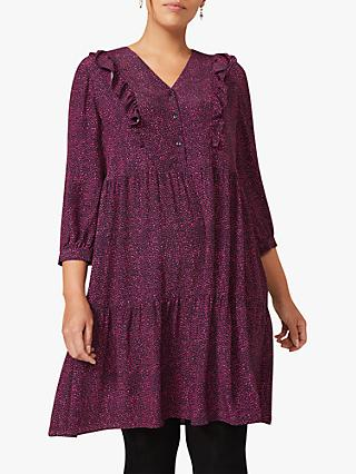 Studio 8 Penny Ditsy Spot Print Swing Dress, Berry