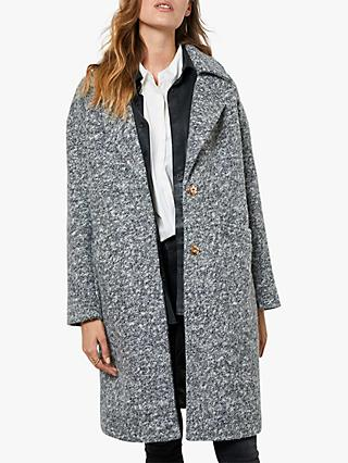 Mint Velvet Marl Textured Coat, Grey