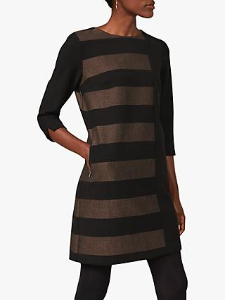 Phase Eight Sophie Colour Block Stripe Dress, Black/Camel