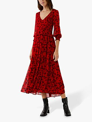 Ghost Jacinta Floral Midi Dress, Red