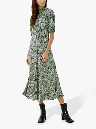 Ghost Luella Floral Print Midi Dress, Green Speckle