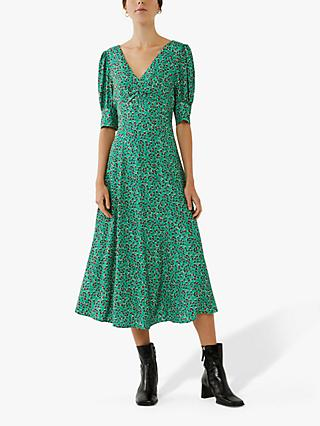 Ghost Bonnie Crepe Print Dress, Retro Rose Green