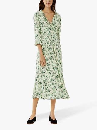 Ghost Nisha Frill Floral Midi Dress, Bell Floral