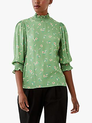 Ghost Floral Grayson Top, Green/Multi