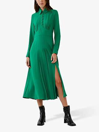 Ghost Claudette Satin Crepe Dress, Bottle Green