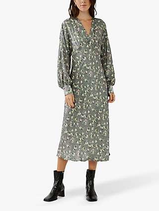 Ghost Dionne Floral Midi Dress, Katya Ditsy Grey