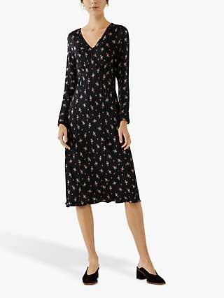 Ghost Kacey Satin Dress, Bouquet Black