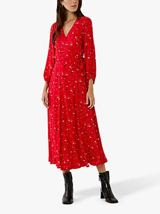 Ghost Aueline Crepe Print Wrap Dress, Red