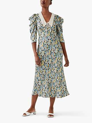 Ghost Essie Collar Floral Midi Dress, Multi