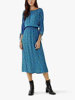 Ghost Olivia Ditsty Floral Midi Dress, Blue
