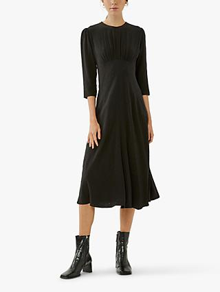 Ghost Emily Dobby Midi Dress, Black