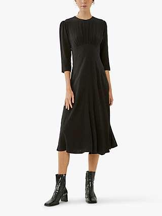 Ghost Emily Dobby Midi Dress, Black