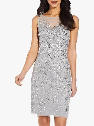 Adrianna Papell Beaded Sheath Mini Gown, Silver Mist