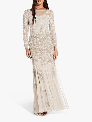 Buy Adrianna Papell Multi Beaded Floral Maxi Gown, Biscotti, 6 Online at johnlewis.com