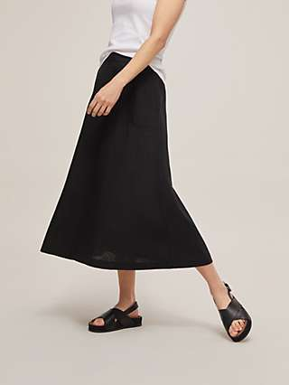 John Lewis & Partners Linen A-Line Midi Skirt