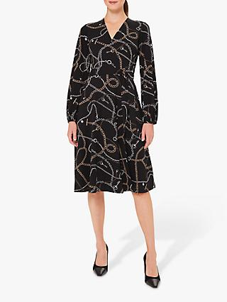 Hobbs Petite Stephanie Chain Print Wrap Dress, Black