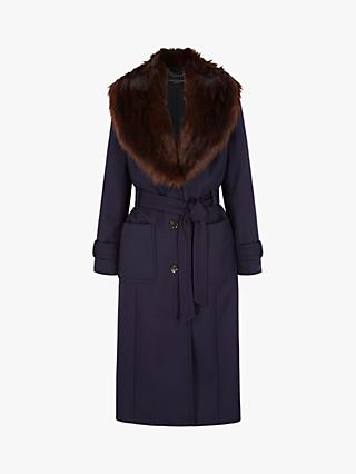 Four Seasons Faux Fur Collar Coat, Navy