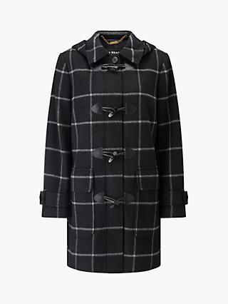 Four Seasons Check Duffle Coat, Black