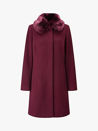 Four Seasons Faux Fur Collar Coat, Berry