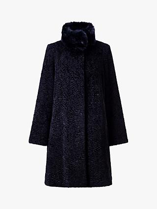 Four Seasons Astrakan Faux Fur Long Coat