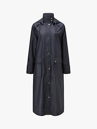 Four Seasons Longline Wax Coat, Black Tulip