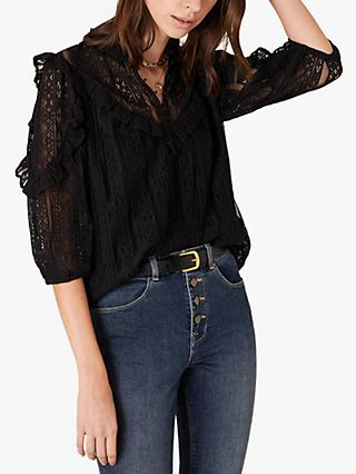Monsoon Lace Ruffle Top, Black