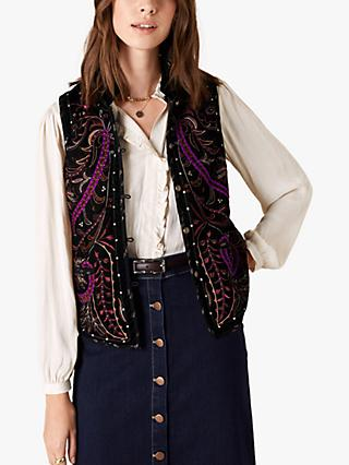 Monsoon Velvet Embroidered Waistcoat, Black/Multi