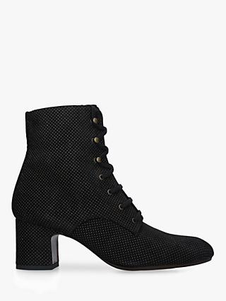 Chie Mihara Nako Suede Spotted Ankle Boots, Black