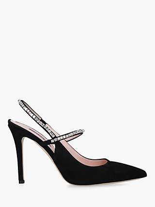 SJP by Sarah Jessica Parker Deluxe Suede Embellished Slingback Court Shoes, Black