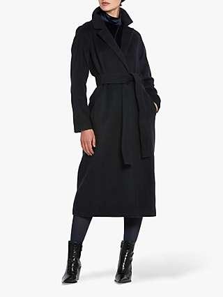 Helen McAlinden Michelle Wool Cashmere Blend Longline Coat, Navy