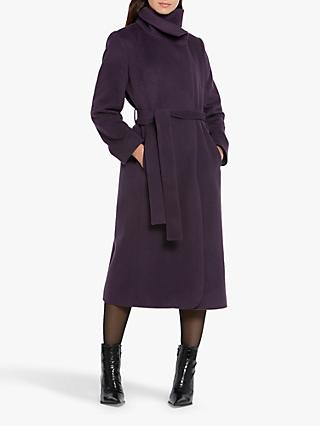 Helen McAlinden Hazel Wool Cashmere Blend Funnel Neck Coat, Mulberry