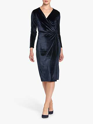 Helen McAlinden Roma Velvet Wrap Knee Length Dress, Navy
