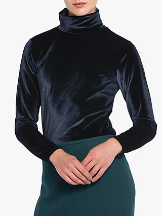 Helen McAlinden Cora Velvet Polo Neck Top, Navy
