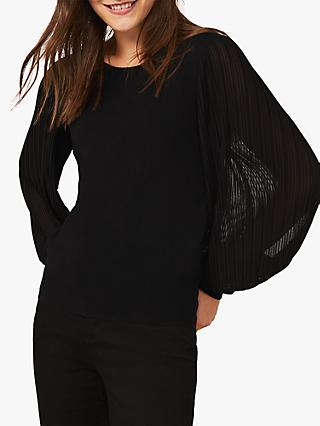 Phase Eight Mikaela Pleated Sleeves Top, Black