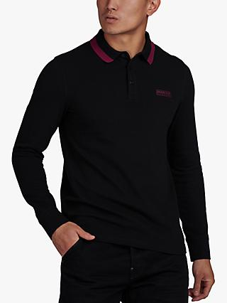 Barbour International Long Sleeved Pique Polo Top, Black
