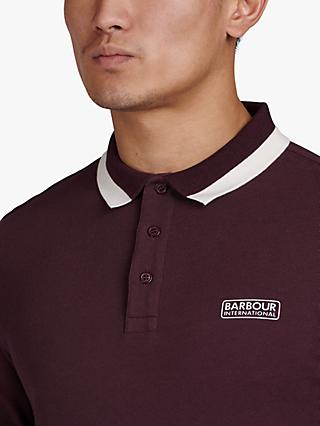 Barbour International Pique Long Sleeved Polo Top, Red