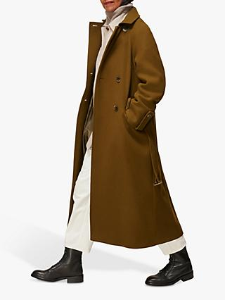 Whistles Wool Blend Belted Trench Coat, Khaki
