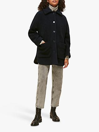 Whistles Teddy Wool Blend Lumber Jacket, Navy