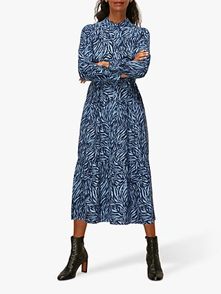 Whistles Zebra Print Tiered Shirt Dress, Blue/Black