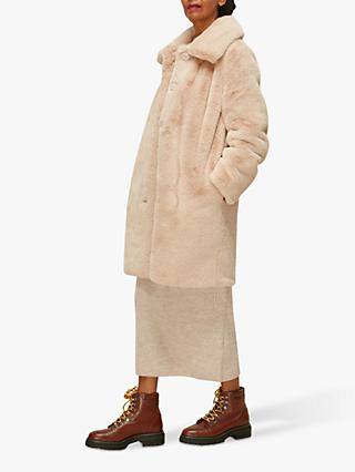 Whistles Long Faux Fur Coat, Beige