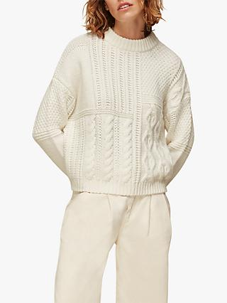 Whistles Patchwork Cable Knit Jumper, Ivory