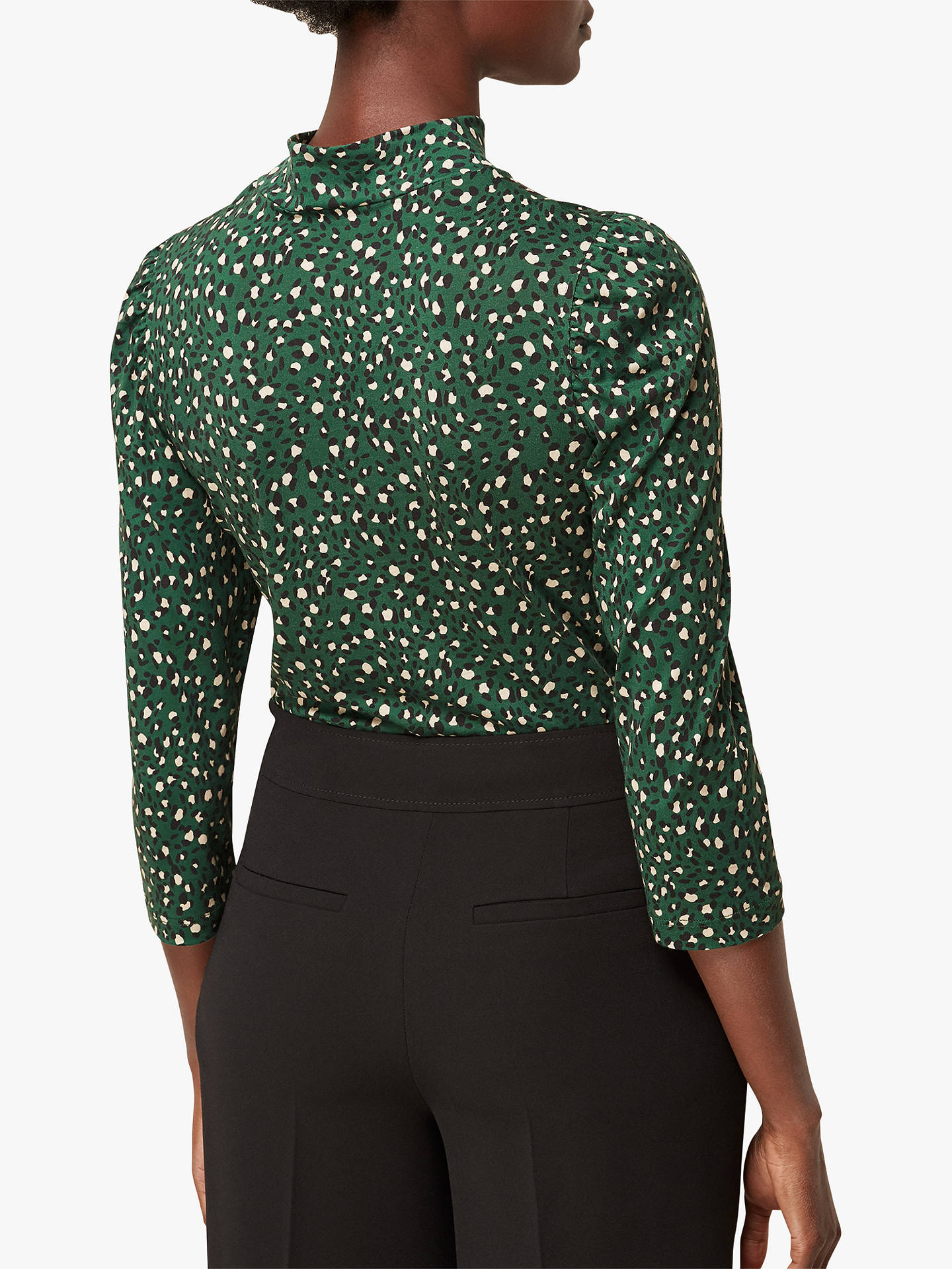 Buy Whistles High Neck Leopard Print Top, Green/Multi, 6 Online at johnlewis.com